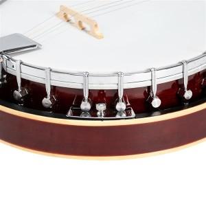 Glarry 5-String Resonator Banjo Reentrant Tuning Banjo Right Handed Back & Sides Sapele with Strings