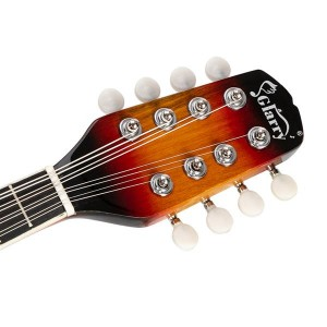 Glarry A Style 8-String Acoustic Mandolin Flatback Acoustic Mandolin with Pick Guard Sunset Color