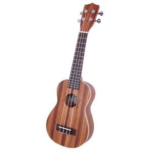 """Glarry UK301 21"""" Soprano Rosewood Fingerboard Matte Zebra Wood Ukulele"""