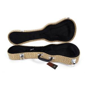 "21"" Soprano Straw Braid Pattern Leather Ukulele Case Light Brown"