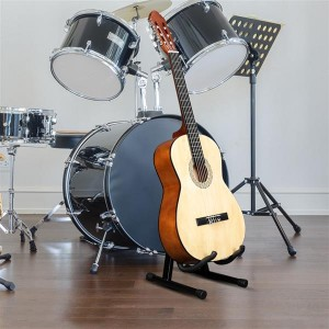 Glarry Collapsible Portable Single Type A Electric Guitar Stand Electric Bass Stand Wooden Guitar Stand
