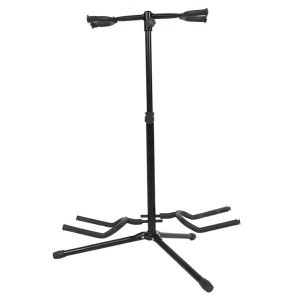 Dual Vertical Style Alloy Guitar Stand Holder Black