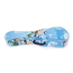 """21"""" Soprano Hawaii Style Pattern Leather Ukulele Case Light Blue"""