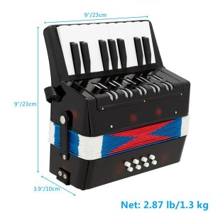 17-Key 8 Bass Kids Accordion Children's Mini Musical Instrument Easy to Learn Music Black