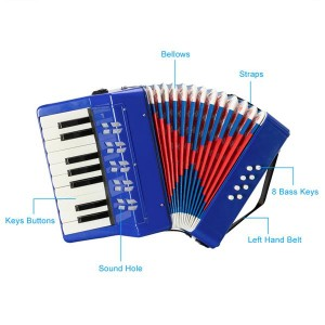 17-Key 8 Bass Kids Accordion Children's Mini Musical Instrument Easy to Learn Music Blue