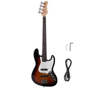 Gjazz Electric Bass Right Handed 4 Strings SS Pickup Cable Wrench Tool Pick Sunset Color