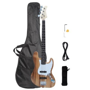 Gjazz Electric Bass Right Handed 4 Strings SS Pickup Bags Straps Picks Cables Wrench Tools Burlywood