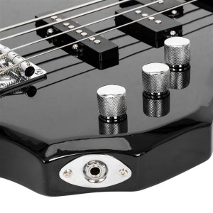 Glarry Burning Fire Electric Bass Guitar Full Size 4 String Cord Wrench Tool Black