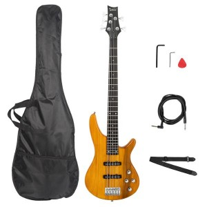 Glarry GIB Electric 5 String Bass Guitar Full Size Bag   Strap   Pick   Connector   Wrench Tool Transparent Yellow