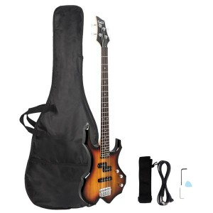 Glarry Burning Fire Electric Bass Guitar Full Size 4 String Bag Strap Paddle Cable Wrench Tool Sunset Color