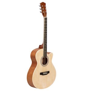 40 Inch Cutaway Acoustic Guitar 20 Frets Beginner Kit for Students Children Adult Bag Guard Wrench Strings Burlywood