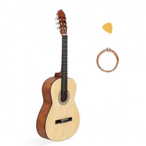 39 Inch 4/4 Size Classical Guitar 19 Frets Beginner Kit for Students Children Adult String Pick Burlywood