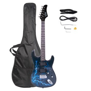 Glarry Electric Guitar GST-E Double Pickup   Bag   Strap   Paddle   Rocker   Cable   Wrench Tool Black